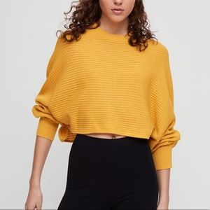 Aritzia Yellow Cropped Sweater by Wilfred , size M
